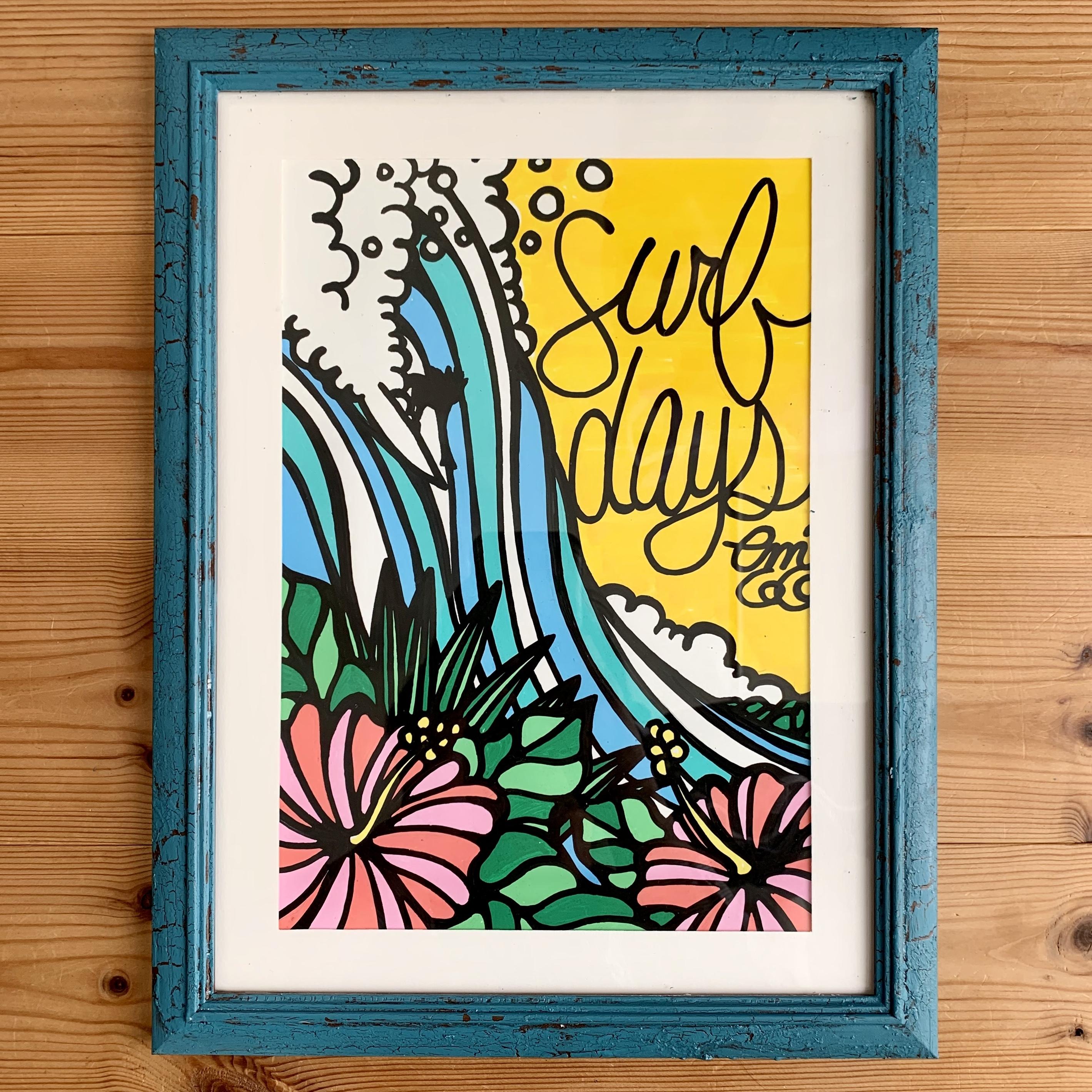 【原画】Surf days(A4/フレーム付)