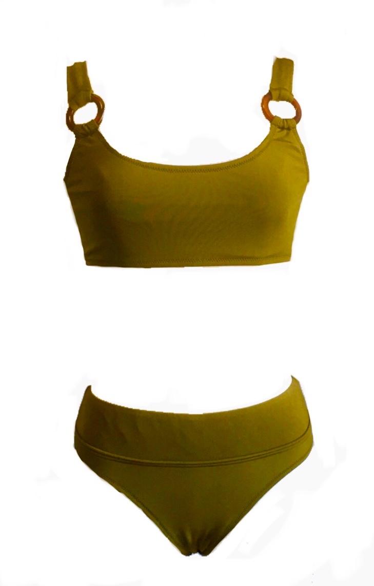Ring bikini top & bottom ( khaki )--20%off--