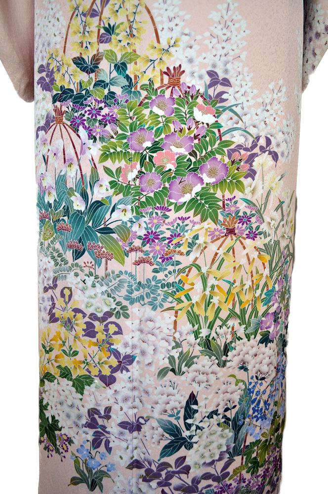 レンタル着物164「レンタル訪問着」薄桃色地に紫 黄 緑等の花が鮮やかな友禅柄【往復送料無料】 - 画像5