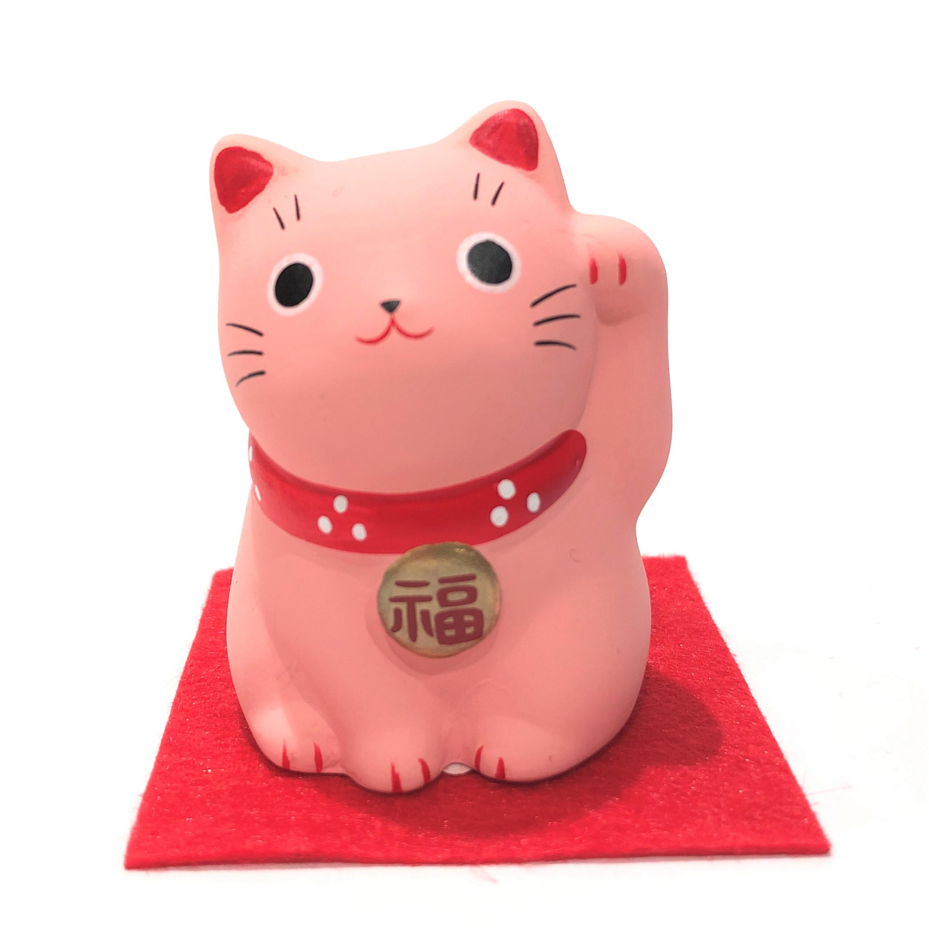 錦彩福おいで招き猫 桃猫 恋愛成就