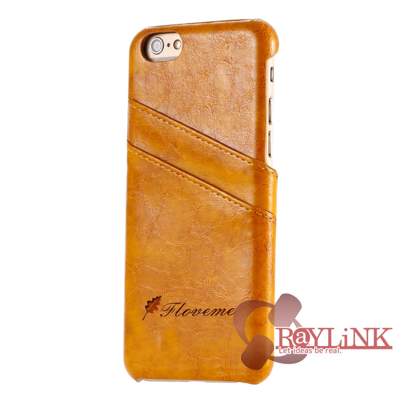 【スマホケース】iPhone7Plus用レザーケース カード入れ付き イエロー
