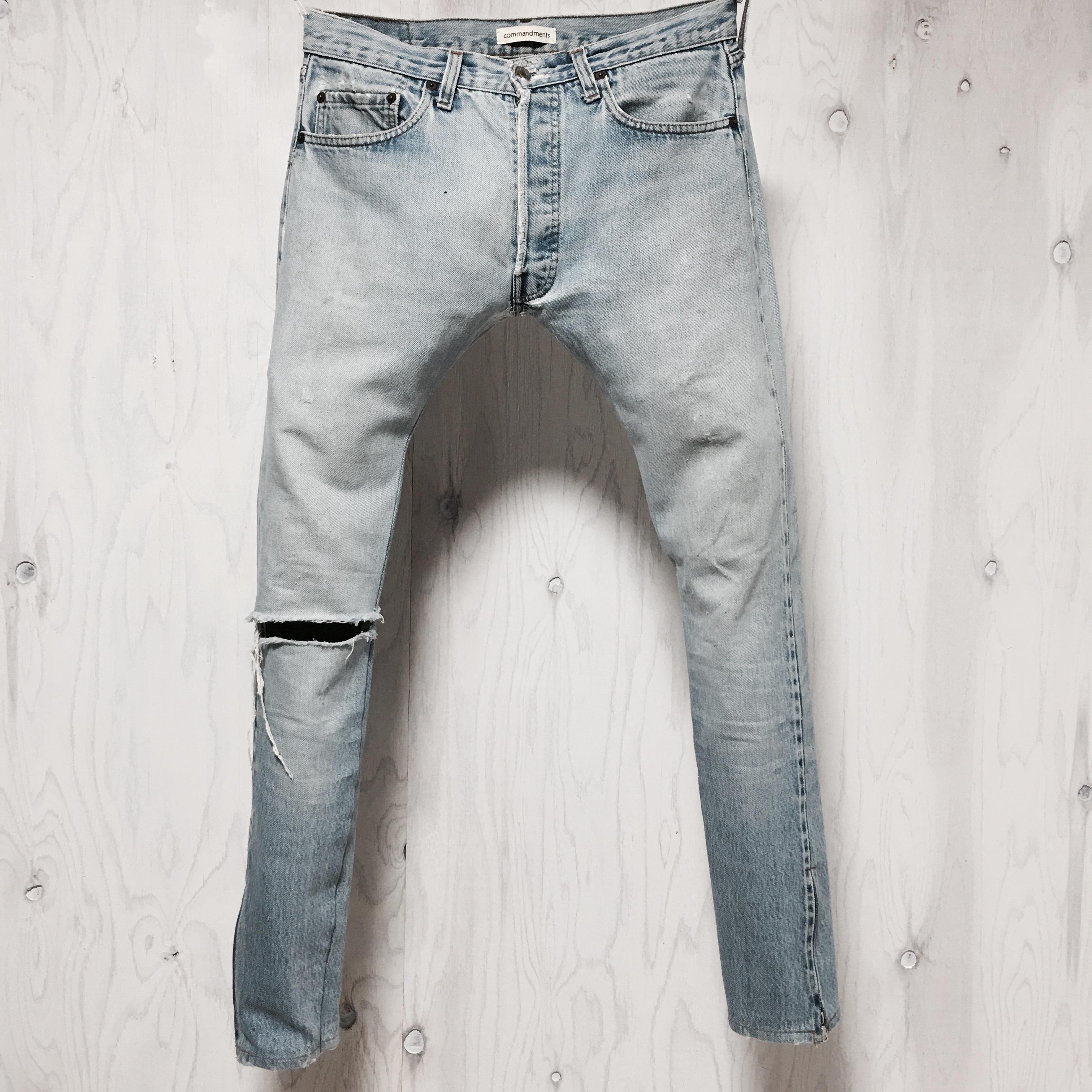 Levi`s 501 selvage crash&riri zip custom W32
