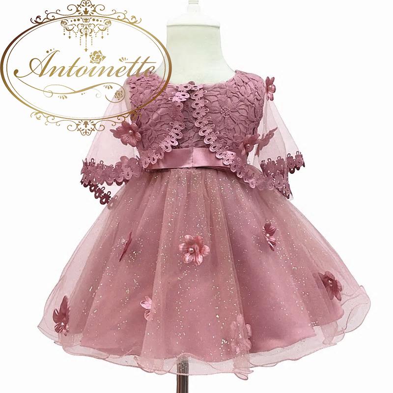 66~150 baby dress ベビードレス マント ドレス おめかし 3色展開 チュール 花柄 結婚式 リングガール