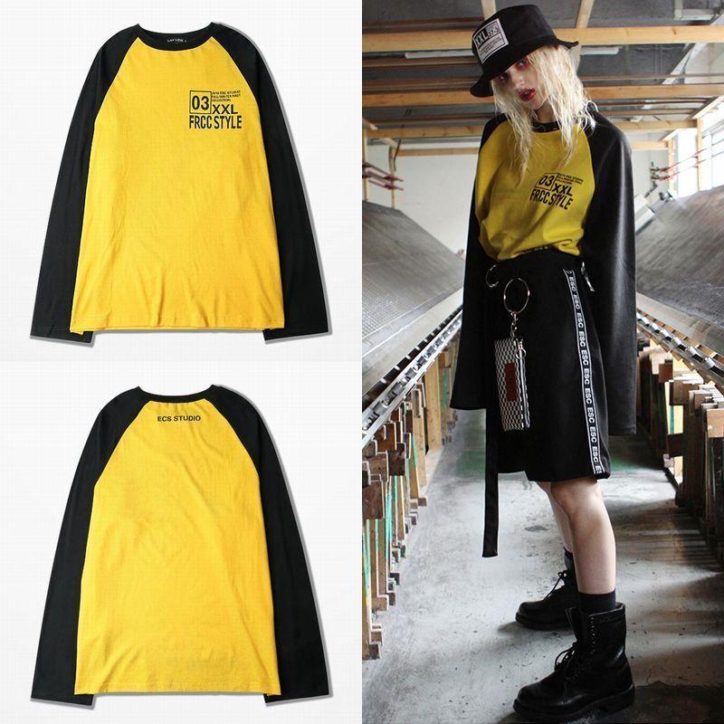 ユニセックス 長袖 Tシャツ 韓国ファッション メンズ レディース シンプル ラウンドネック オーバーサイズ 大きいサイズ ストリート