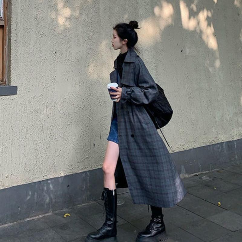 〈カフェシリーズ〉ごまプリンのチェック柄コート【sesame pudding check coat】