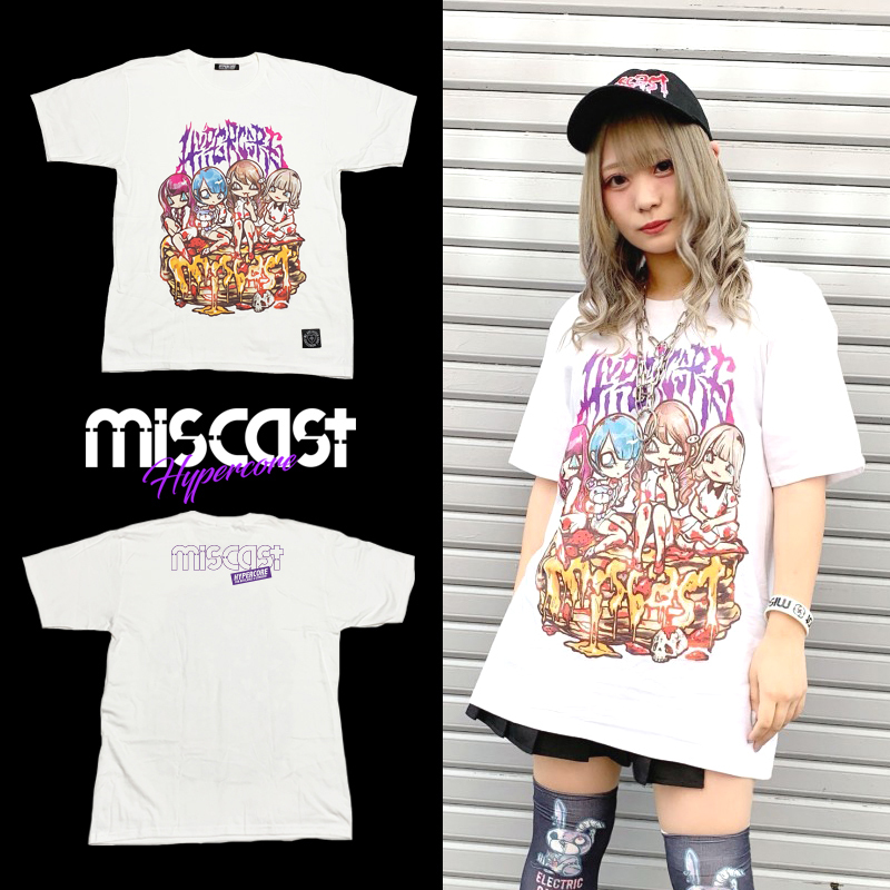 """MIS-01 miscast × HYPER COREコラボレーション""""miscast on the BLOODY PANCAKE""""Tシャツ(白)"""