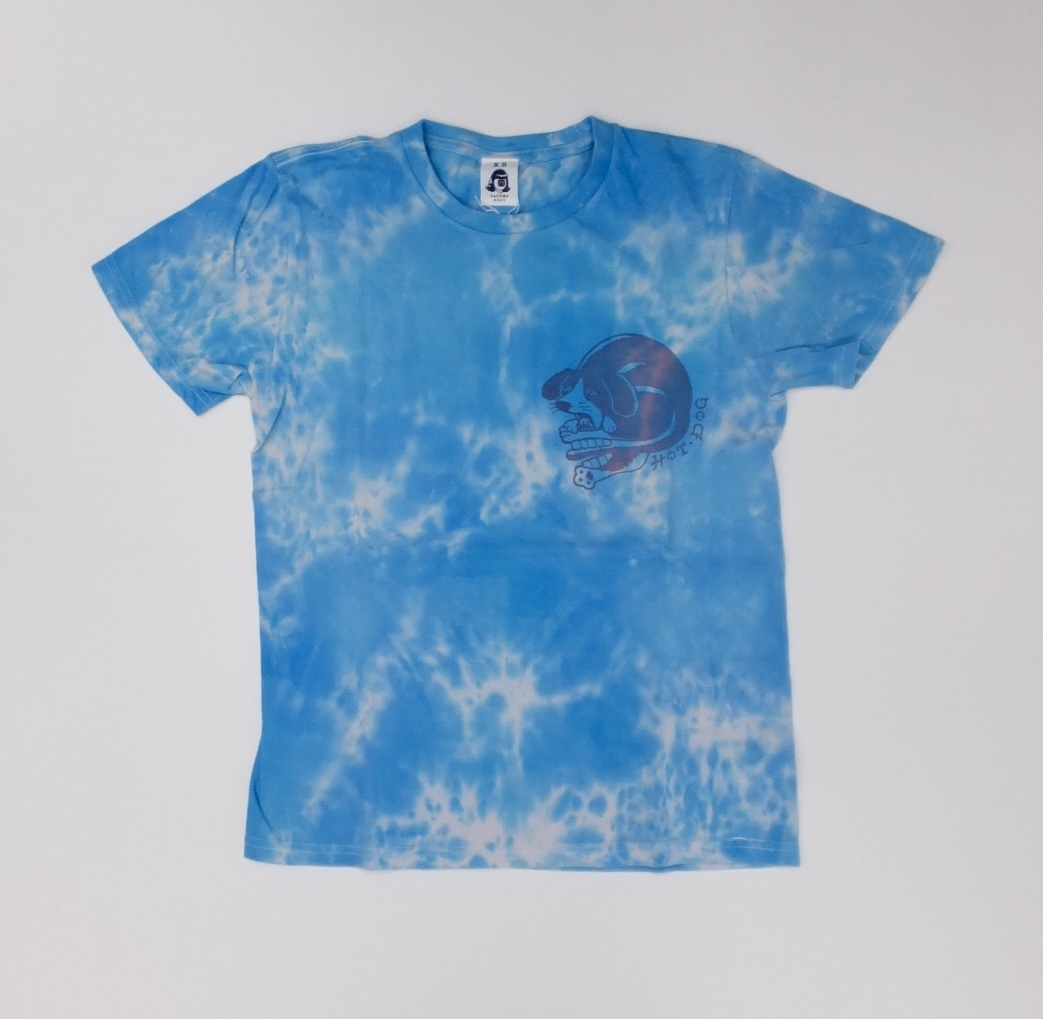HOT DOG LOGO TIE DYE designed by Jerry UKAI  BLUE TAI DYE