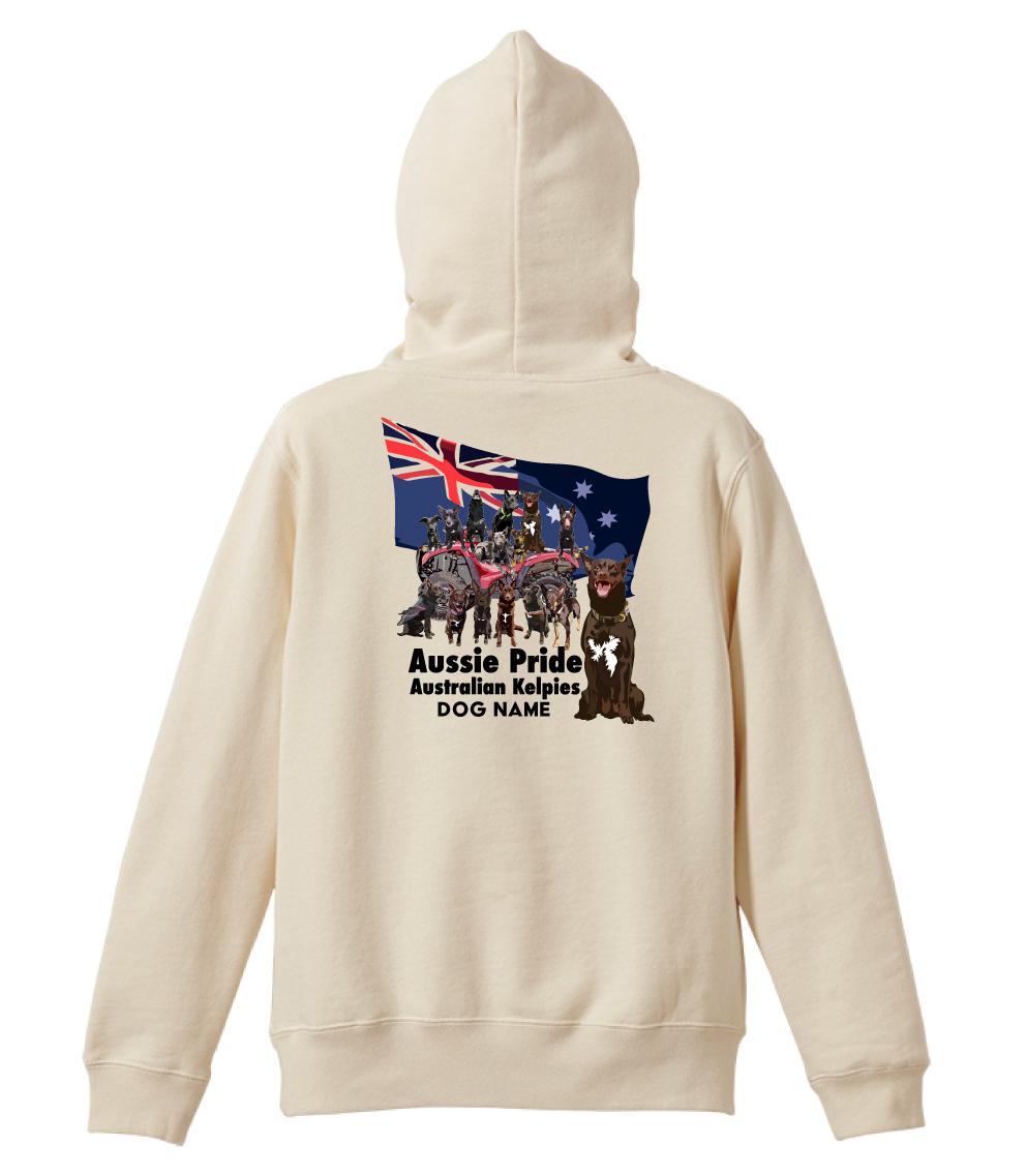 オリジナル・オーダーAK-FPAKA-1001  オーストラリアン・ケルピー パーカー10oz フルジッパー 愛犬カスタム Aussie Pride 袖プリントあり