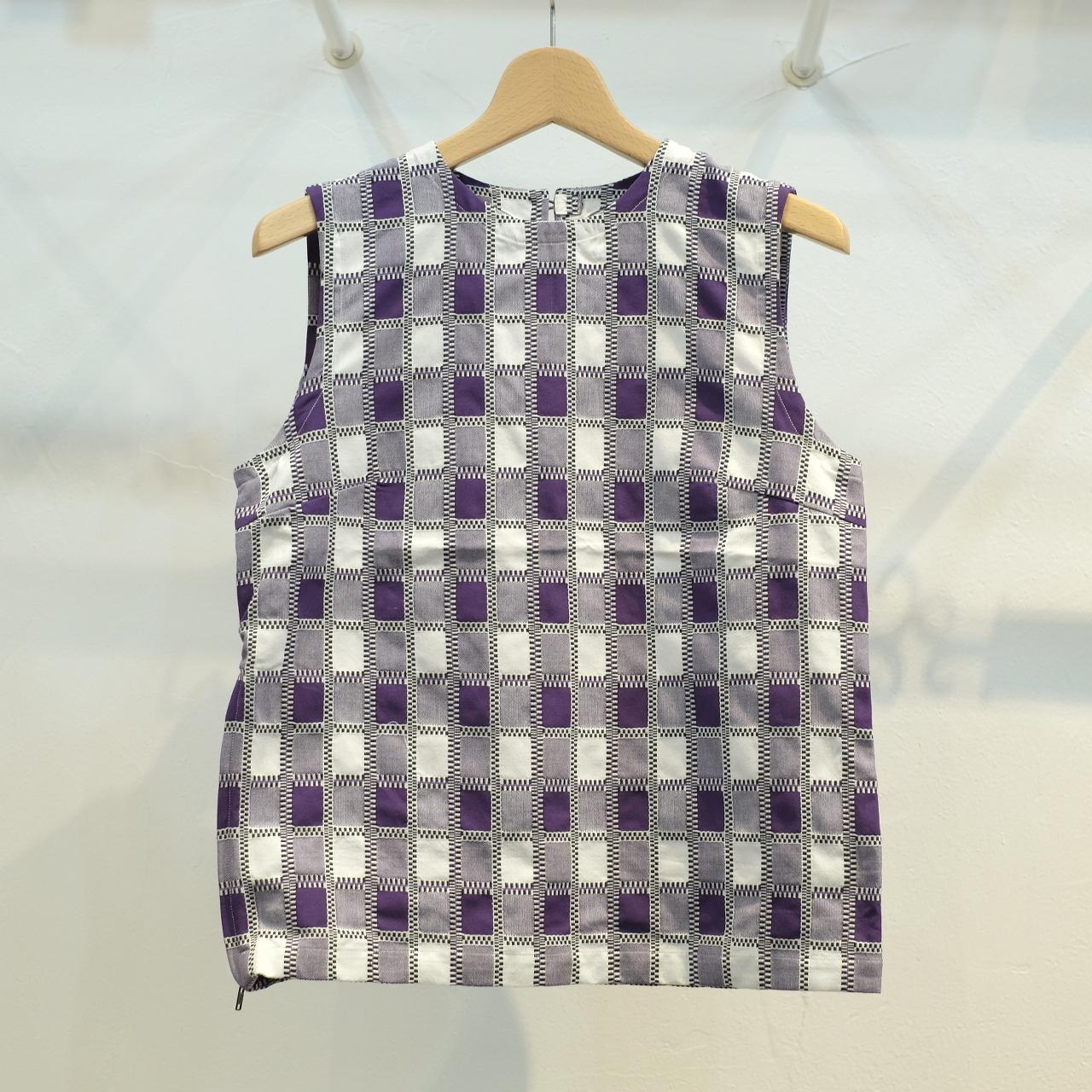 KUON(クオン)レディス 吉野格子(柳格子) ノースリーブシャツ (カットソー) パープル