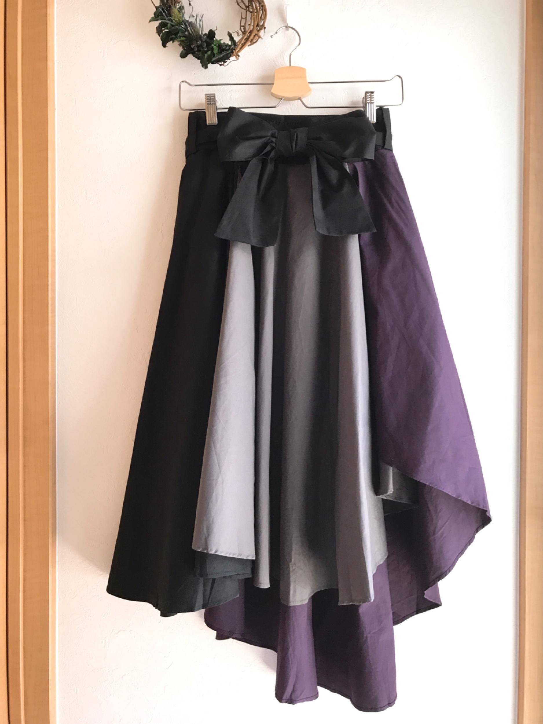 配色切り替えのフィッシュテールスカート パープル