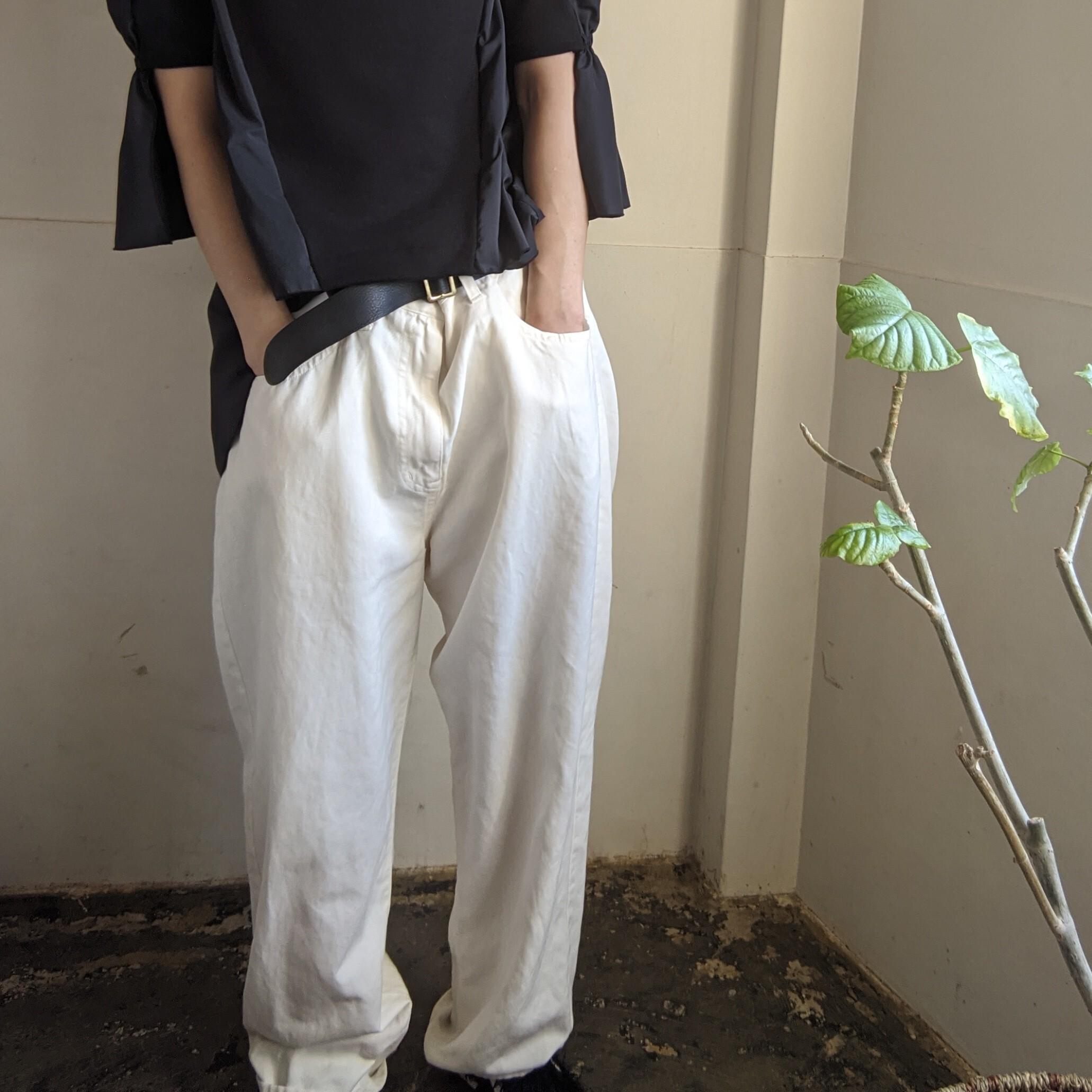 【 1 001 】イチゼロゼロイチ WASHED 5POCKET PANTS / white38 オーバーサイズパンツ