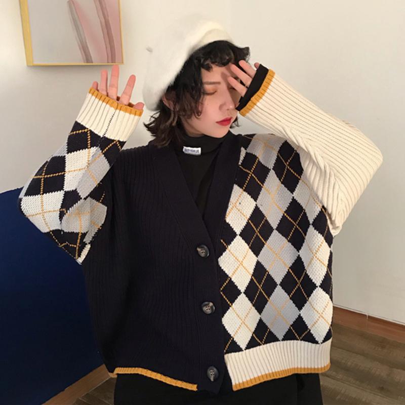 【送料無料】アーガイル柄♡ アシンメトリーデザイン メンズライク ニット カーディガン