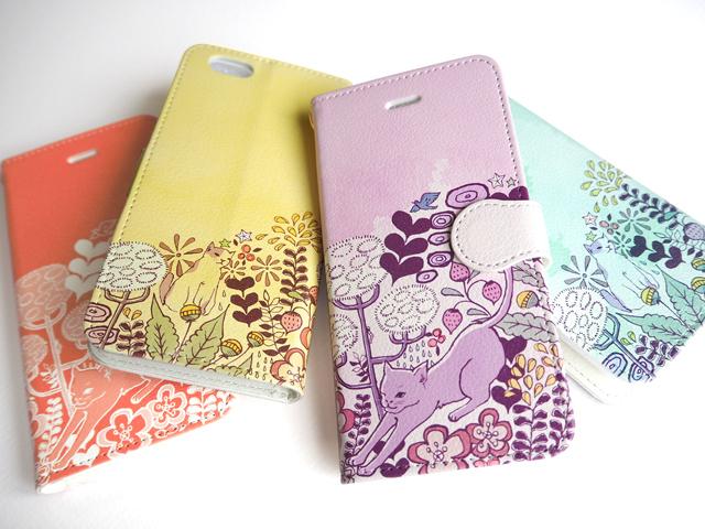 【送料無料】のび猫ガーデン〜手帳型スマホケース《受注生産:iPhone,Android対応》