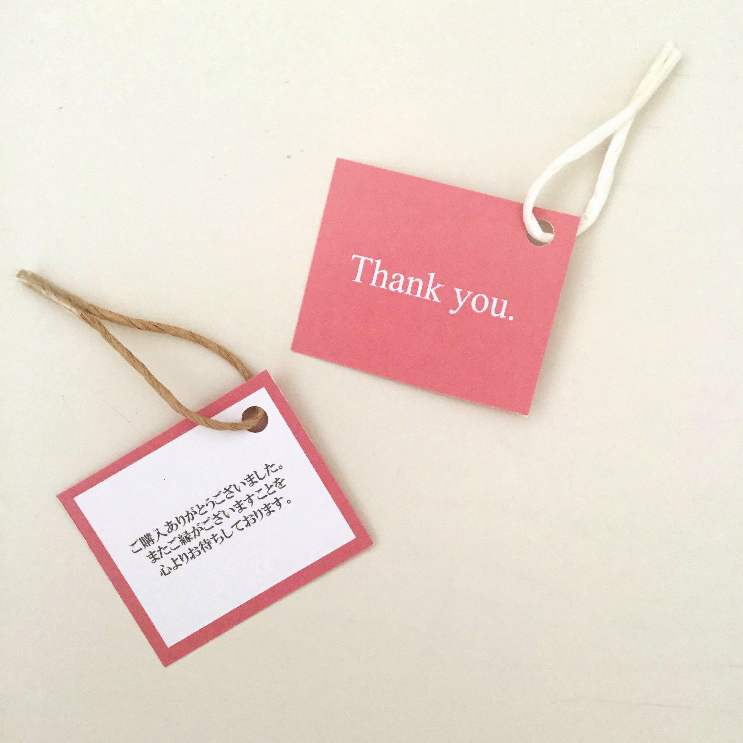 【50枚】サンキューカード  タグ 裏面メッセージ入り ピンク