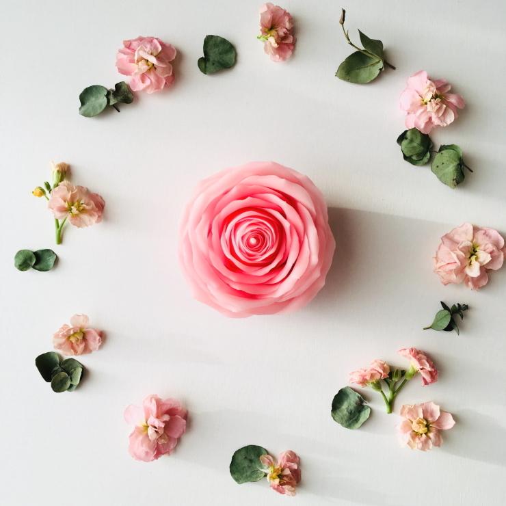 マイガール 天然の蜜蝋 ピンクの薔薇キャンドル