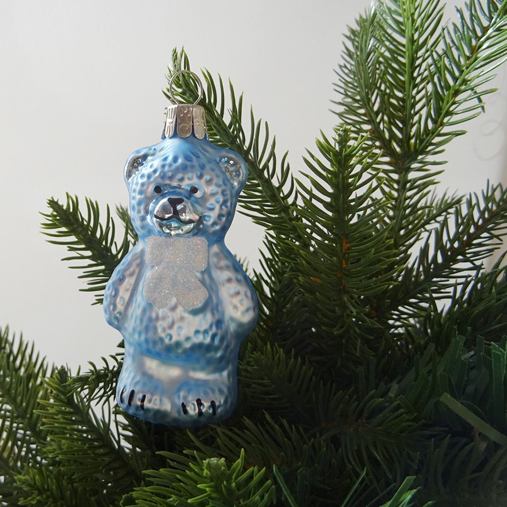 チェコ ガラスのクリスマスオーナメント くま / ブルー