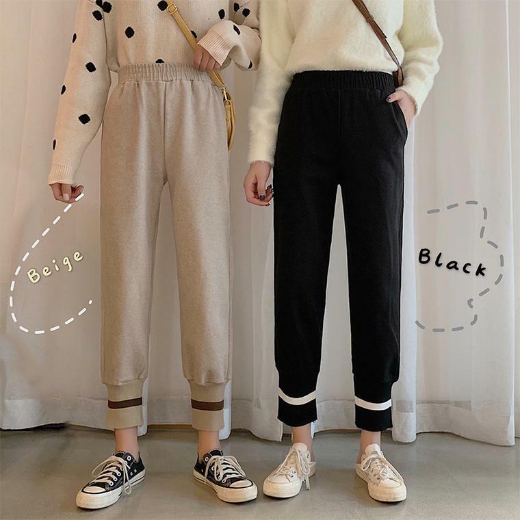 【送料無料】 楽ちんおしゃれ♡ ライン スウェット パンツ 裾 リブ ニット カジュアル ゆるカジ ウエストゴム