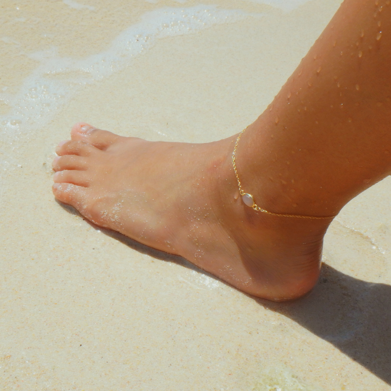 Peach Moonstone Single Chain Anklet