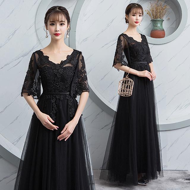 80826e1b099b1 ロングドレス 演奏会 パーティードレス 結婚式 二次会 お呼ばれ 黒 袖あり 五分袖