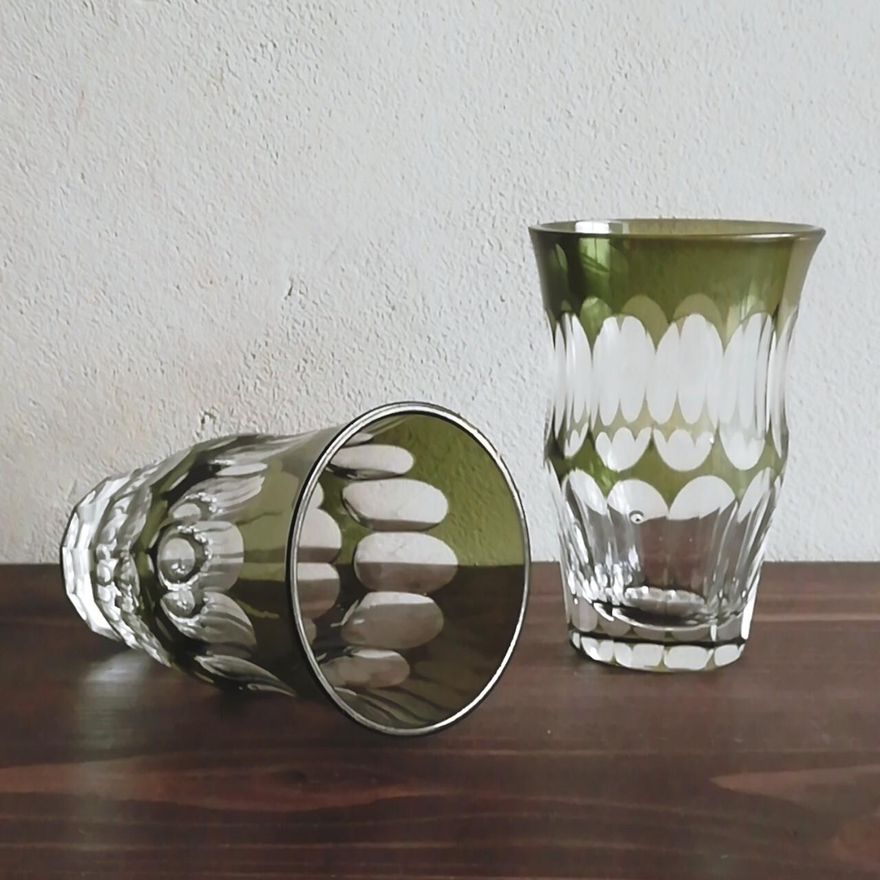 緑被せ 切子コップ【昭和初期頃】
