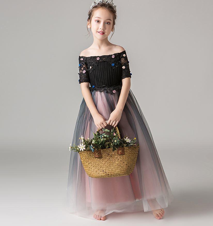 62182b8f86925 子供ドレス☆ 半袖 オフショルダー ロング プリンセス 花柄 刺繍 エレガント 華やか きれいめ