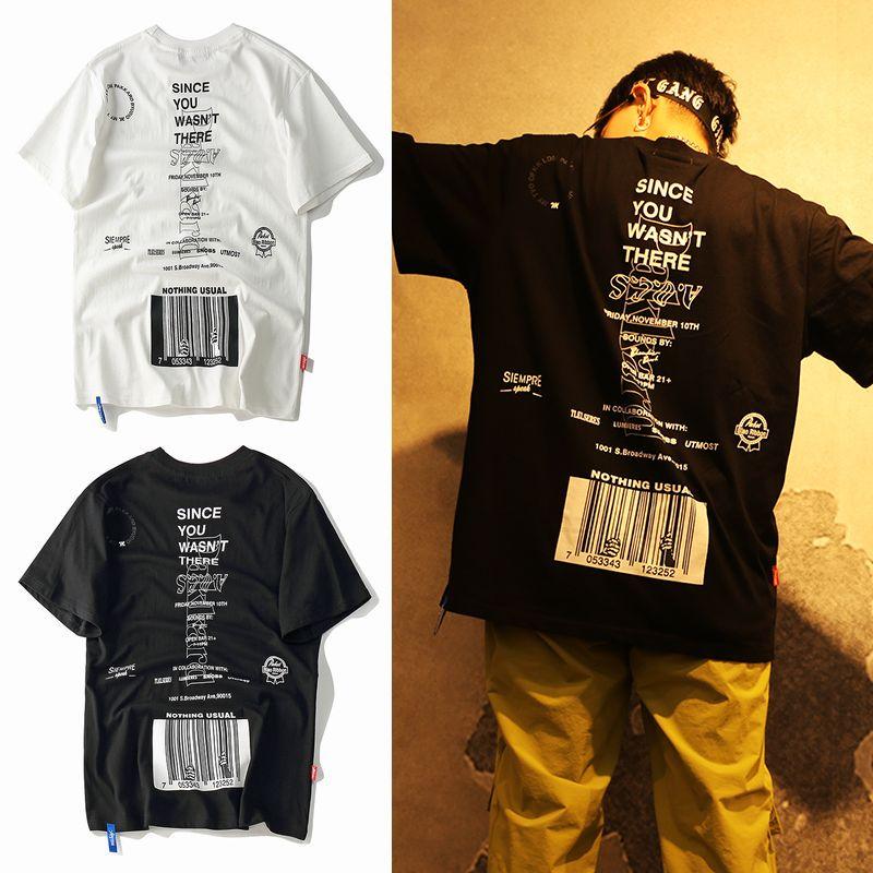 ユニセックス Tシャツ 半袖 メンズ レディース ラウンドネック 英字 バーコード プリント オーバーサイズ 大きいサイズ ルーズ ストリート