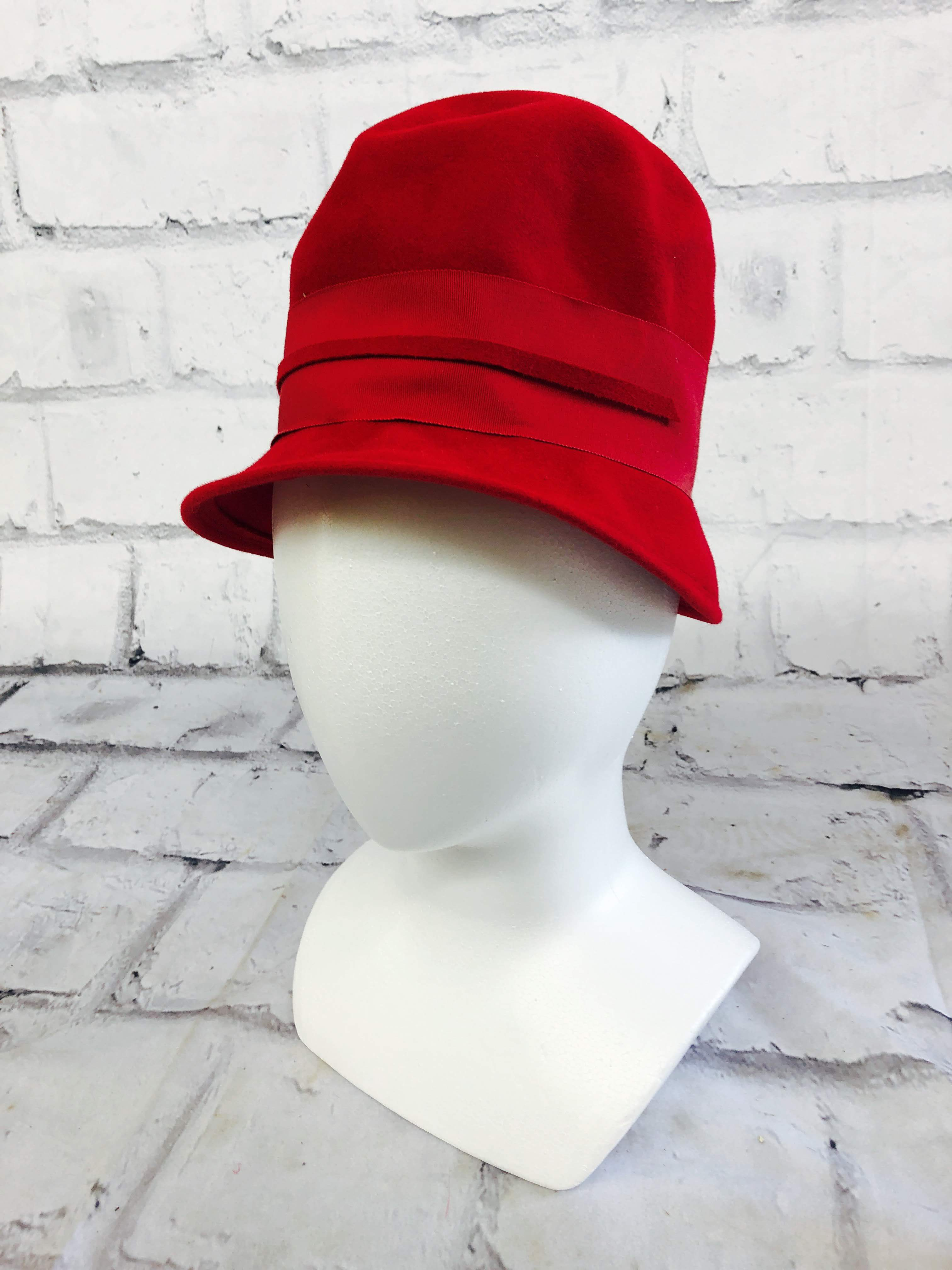 品番1225 フェルトハット ウールハット Luci Ames hand craft レッド 20年代 帽子 レディース ヴィンテージ