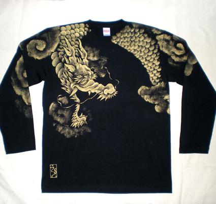 雲龍ー黒 ロングTシャツ