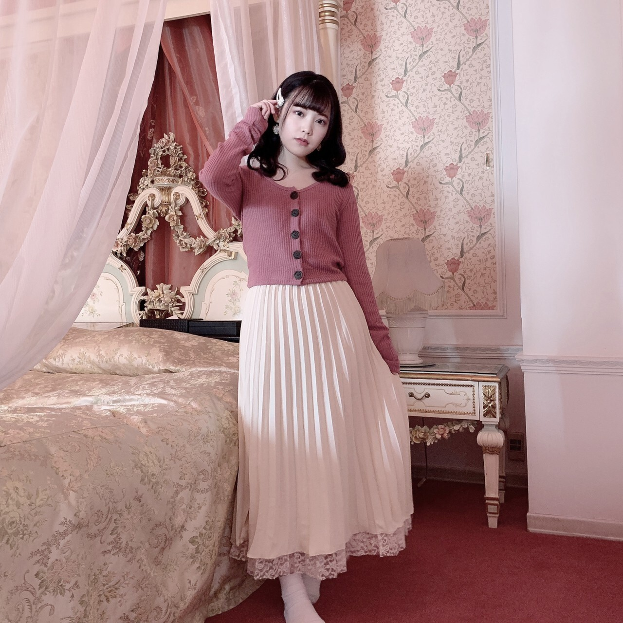 【meltie】pleats × lace 2way skirt
