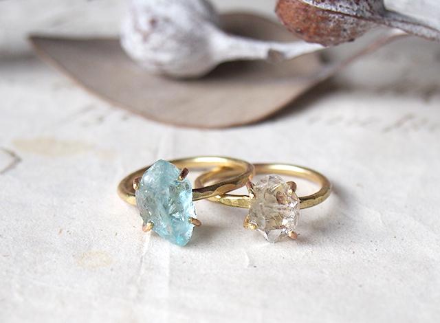 A様オーダー 原石のアクアマリン・ダイヤモンドクォーツのリング