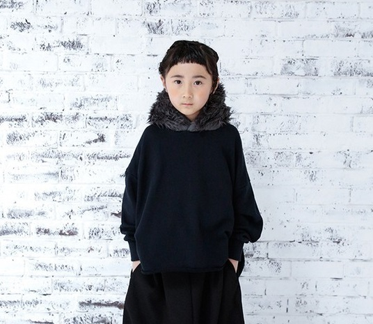 michirico ミチリコ fur hoodie col.:Black size:L(115-130)・XL(130-140)