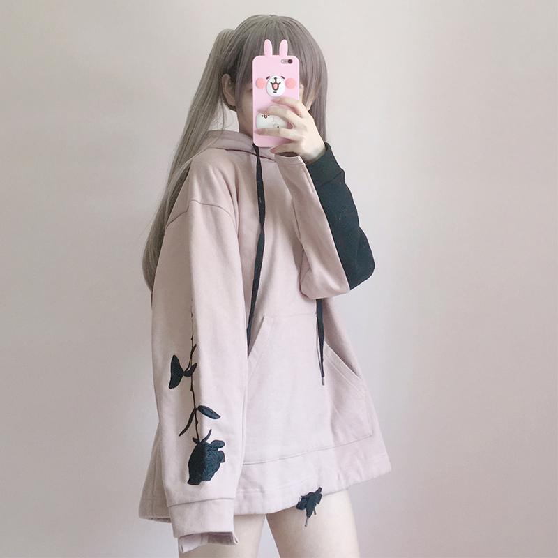 【tops】スウィート刺繍カラーマッチング裏起毛パーカー15688590