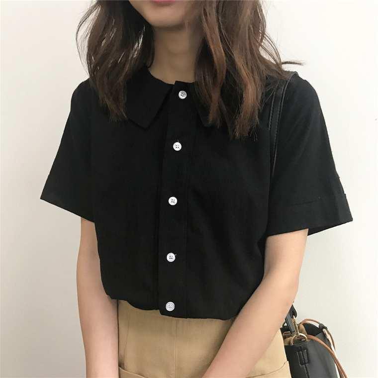 【送料無料】シンプルがgood♡ 4カラー ガーリー 大人可愛い カジュアル 襟付き 無地 半袖 シャツ ブラウス トップス