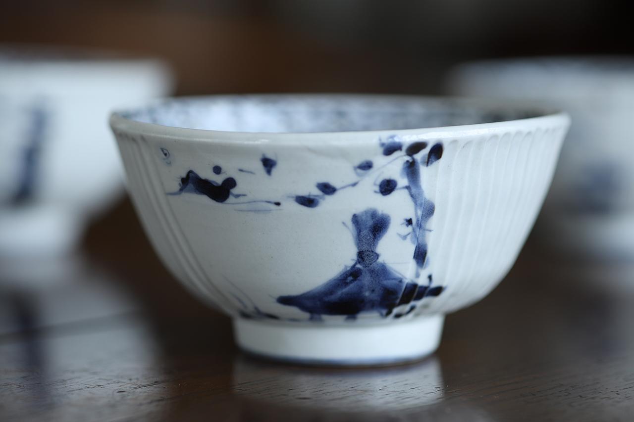 松尾貞一郎 山水辻堂図 しのぎ飯碗 貞土窯(有田焼)