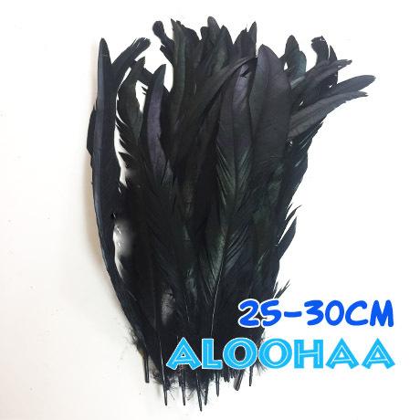 単色ロングフェザー 【ブラック】25-30cm タヒチアン 衣装 材料 ルースターテール 染め 羽根