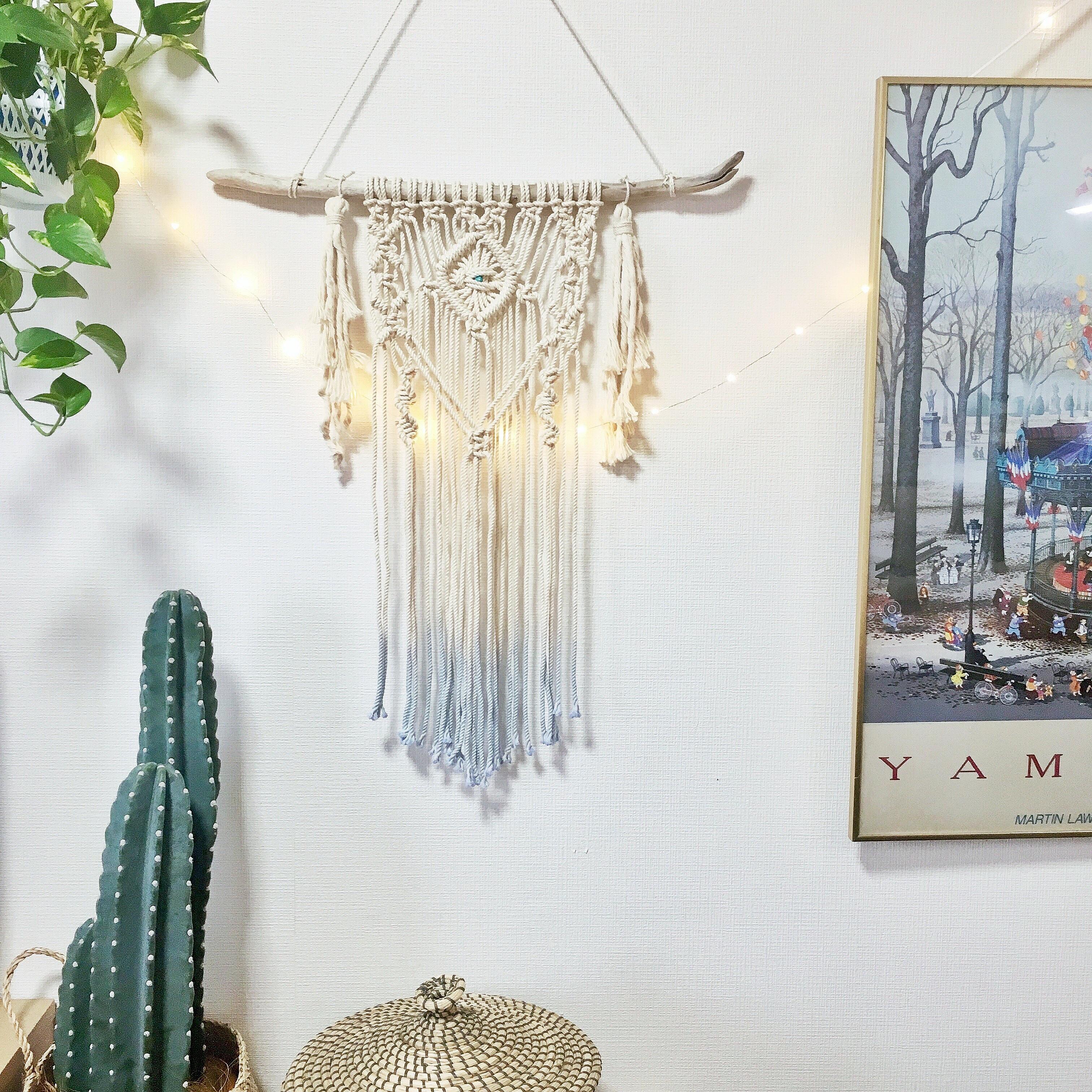 Dipdye macrame tapestry - turquoise × tassel -