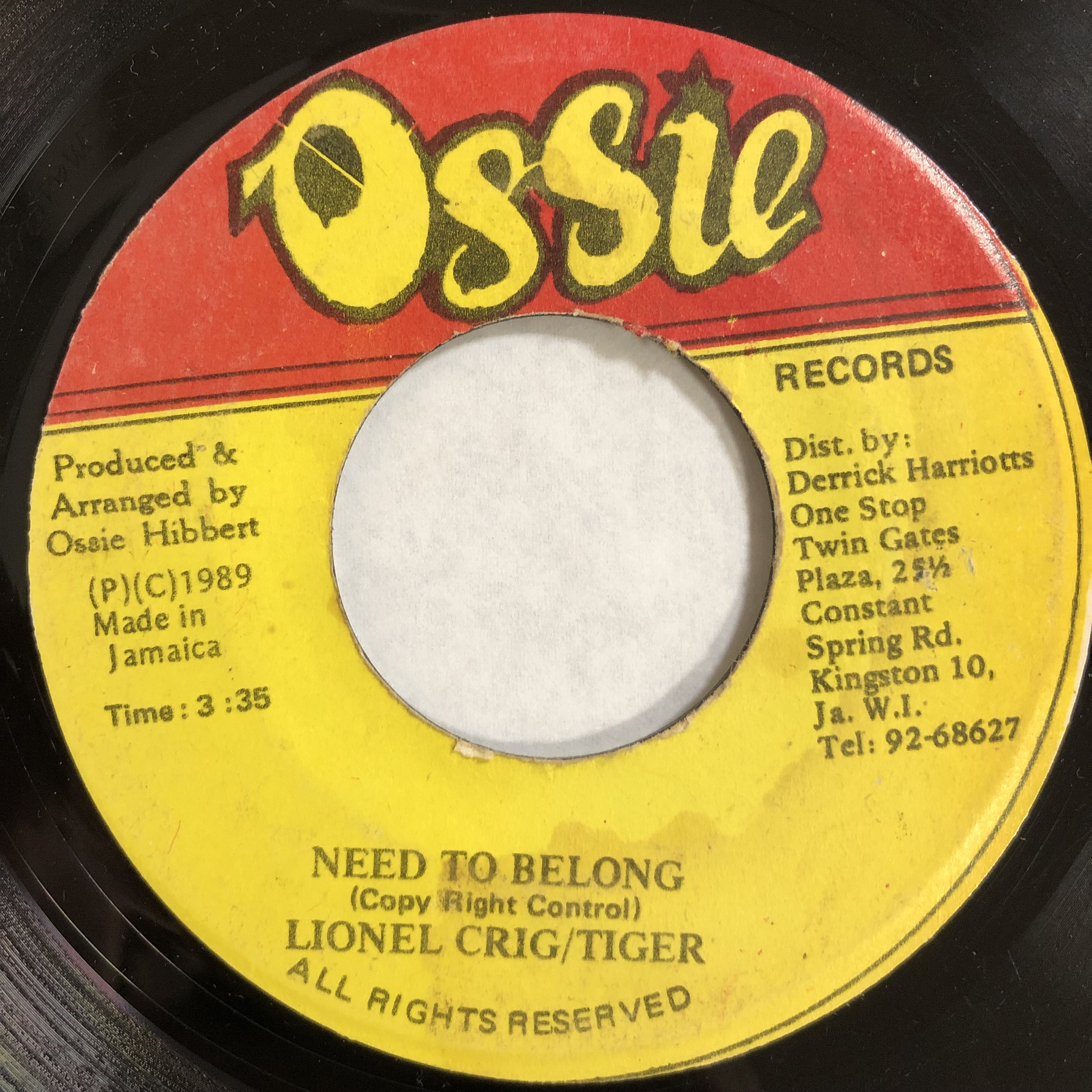 Lionel Craig & Tiger - Need To Belong【7-20129】