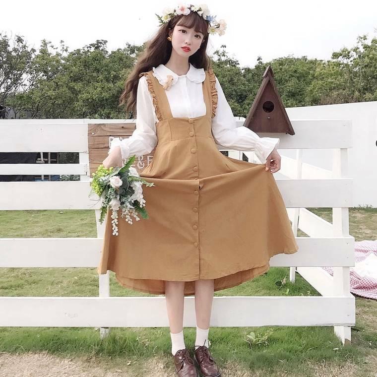 【送料無料】 選べる 半袖or長袖♡ ガーリー セットアップ フリル ブラウス フロントボタン ジャンパースカート
