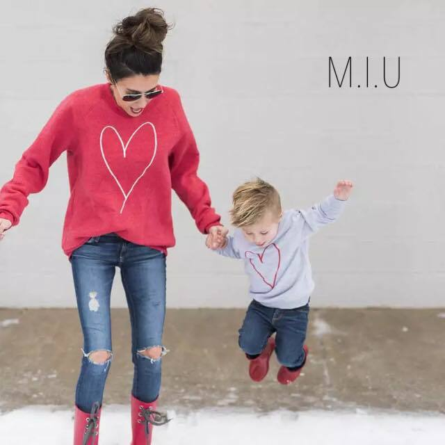 ハート親子コーデロングTシャツ ママ用#MIU613