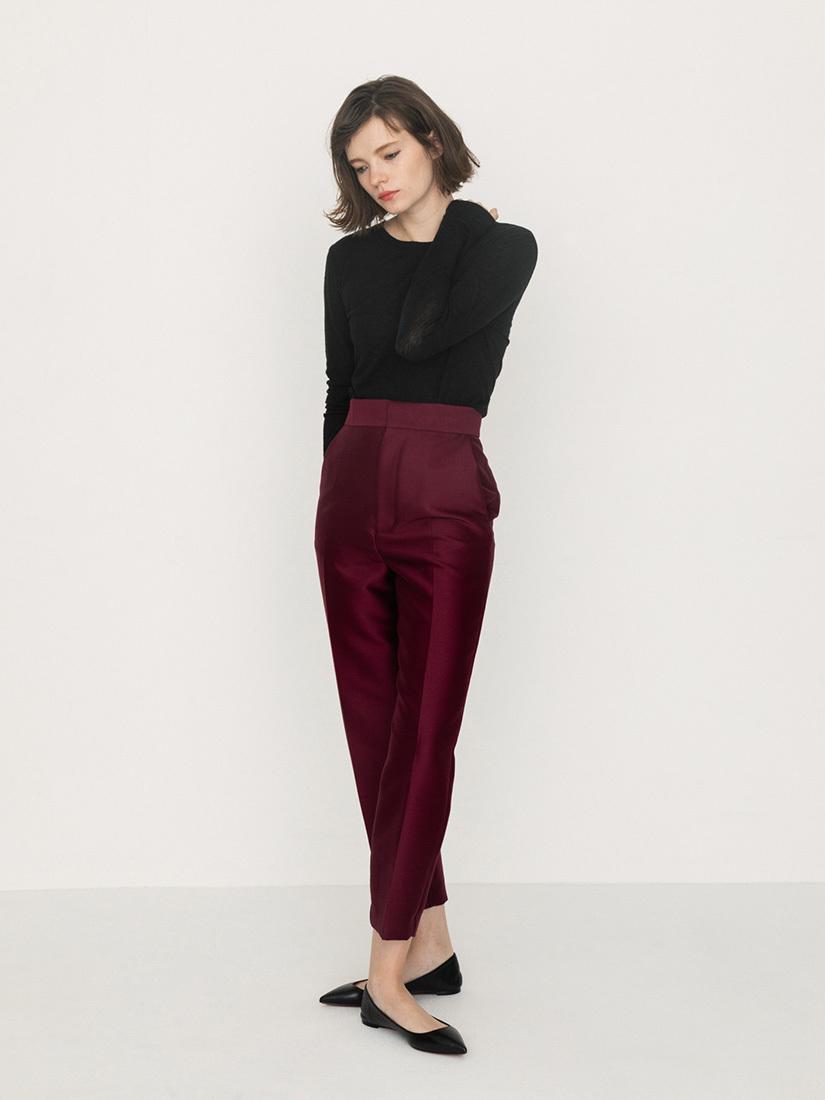 silk wool pants(bordeaux)