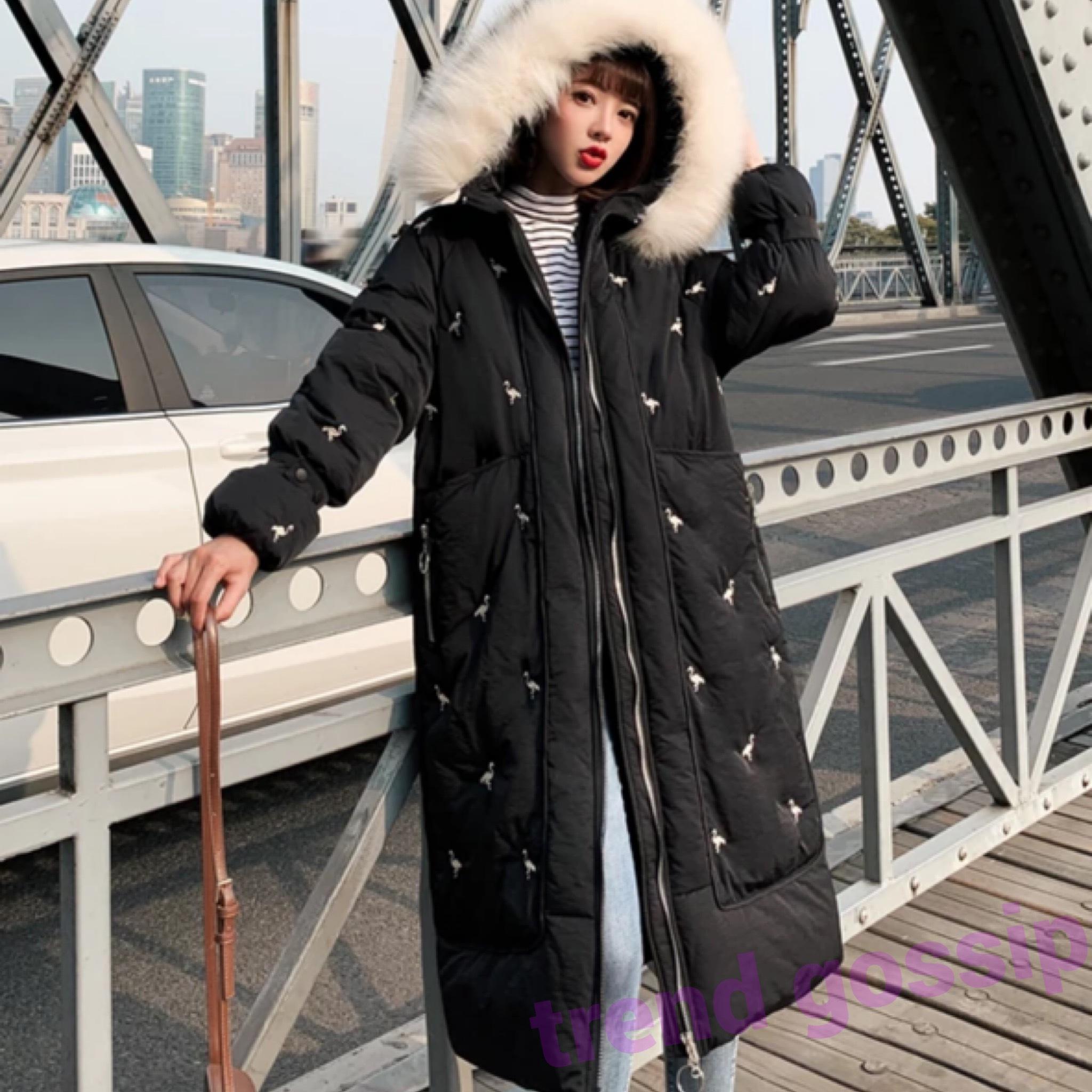 フードファー付きフラミンゴ刺繍中綿ロングコート/アウター/3色展開/S〜XXL/2019AW