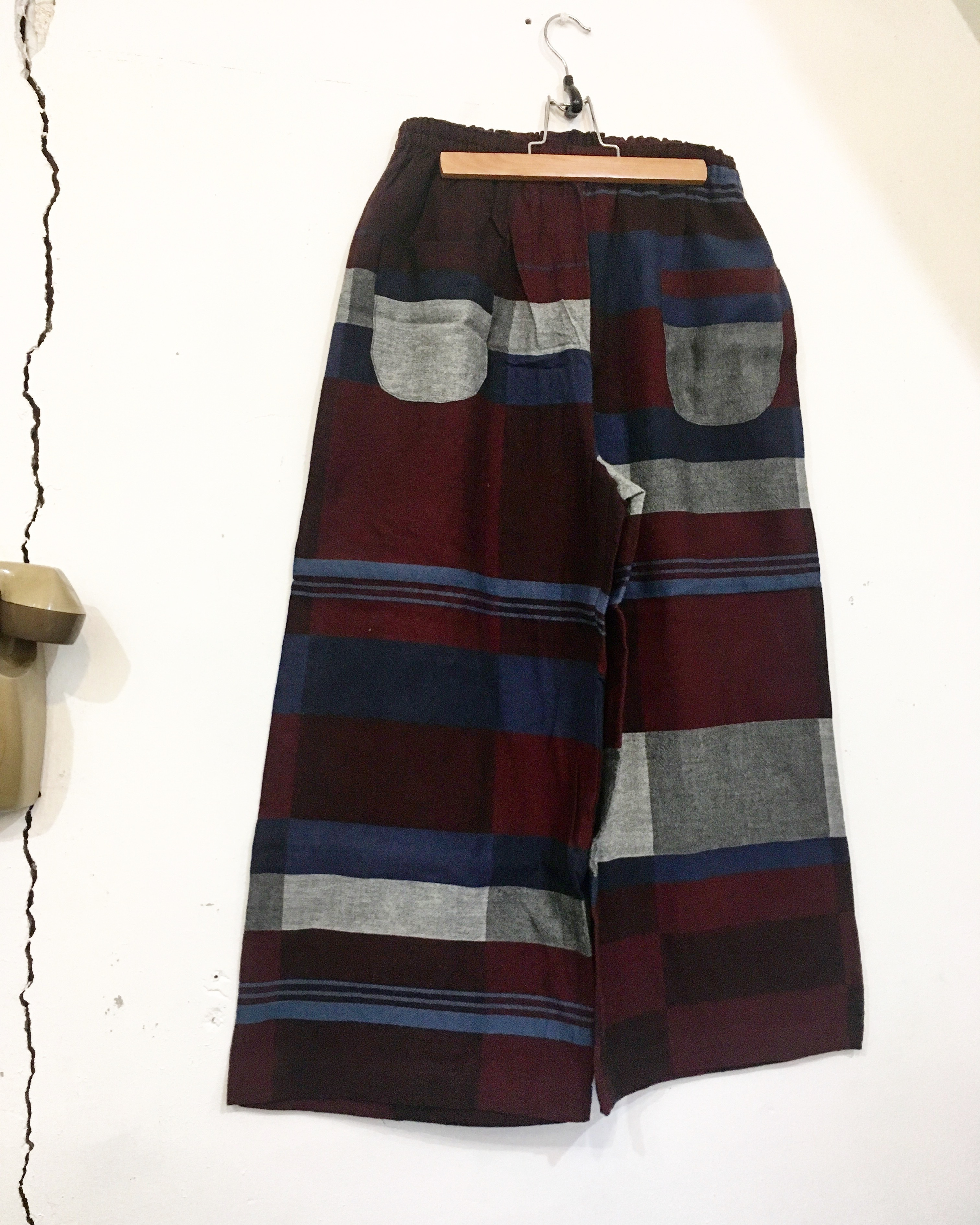 【solmu】播州織 only one pants <ST> wine×navy