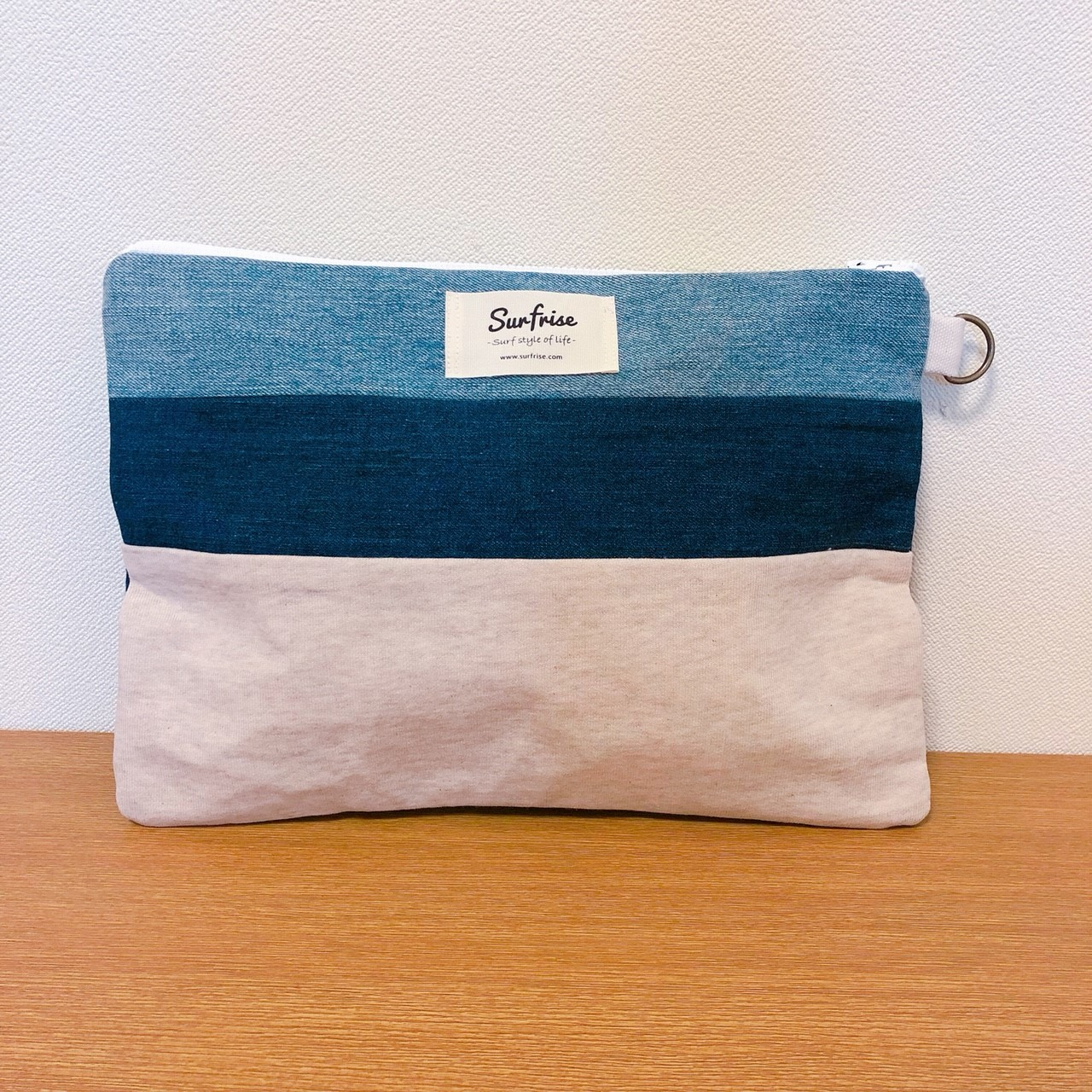 Denim clutch (Off White sweat) S116
