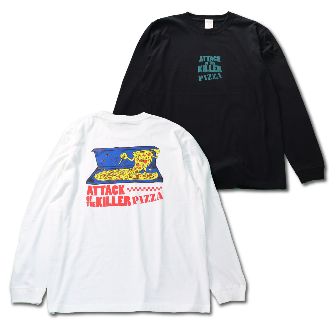 ATTACK OF THE KILLER PIZZA Long Tshirts【color ver.】