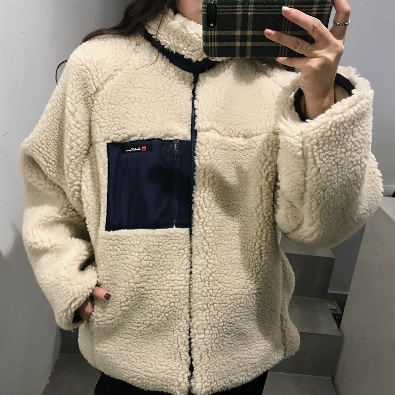 【送料無料】胸元にジップポケット♡ ファーコート もこもこ アウター スタンドカラー