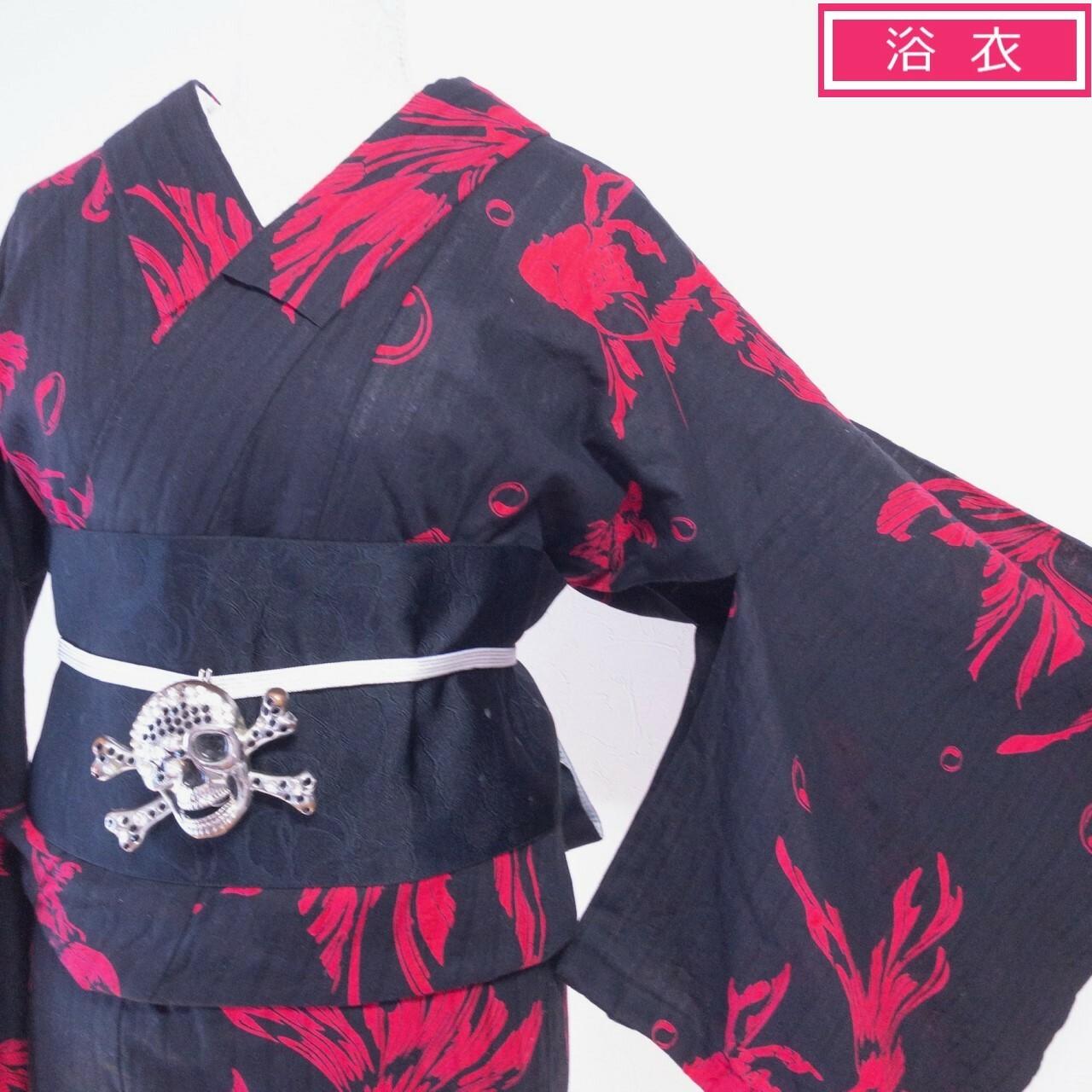 【iroca】プレタブランド浴衣 変わり織 金魚 黒×ピンクレッド 丈166裄69