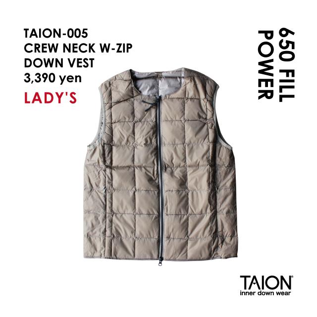 Free shipping NOW!! / Ladies' / TAION-005 CREW NECK W-ZIP DOWN VEST / Khaki / 2018