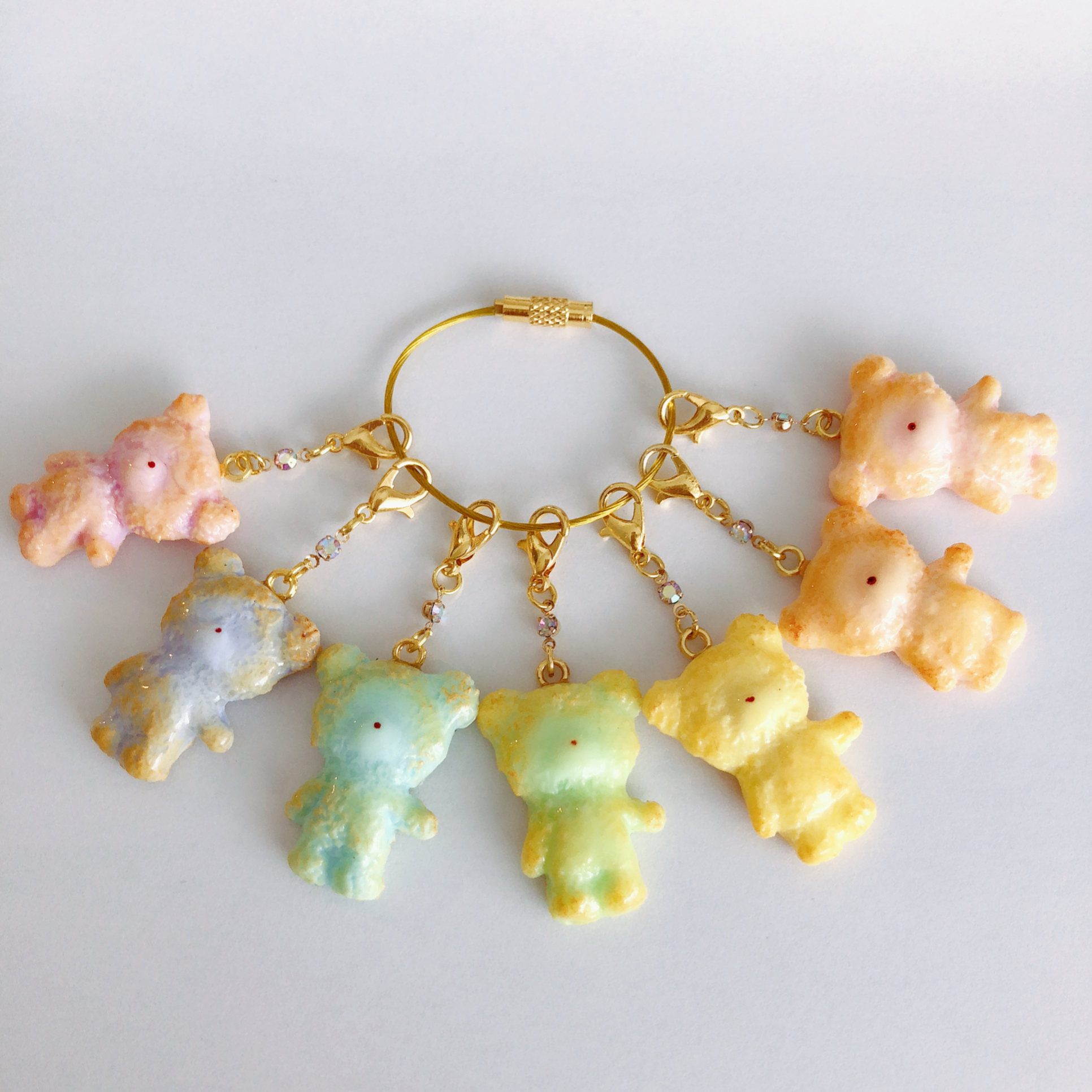 【Puryun】虹色くまさんクッキーチャームキーリングp12-002