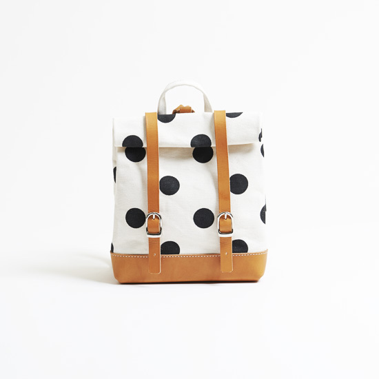 hanelca rucksack/black x polka dot  ハネルカリュックサック/ 墨 x 水玉