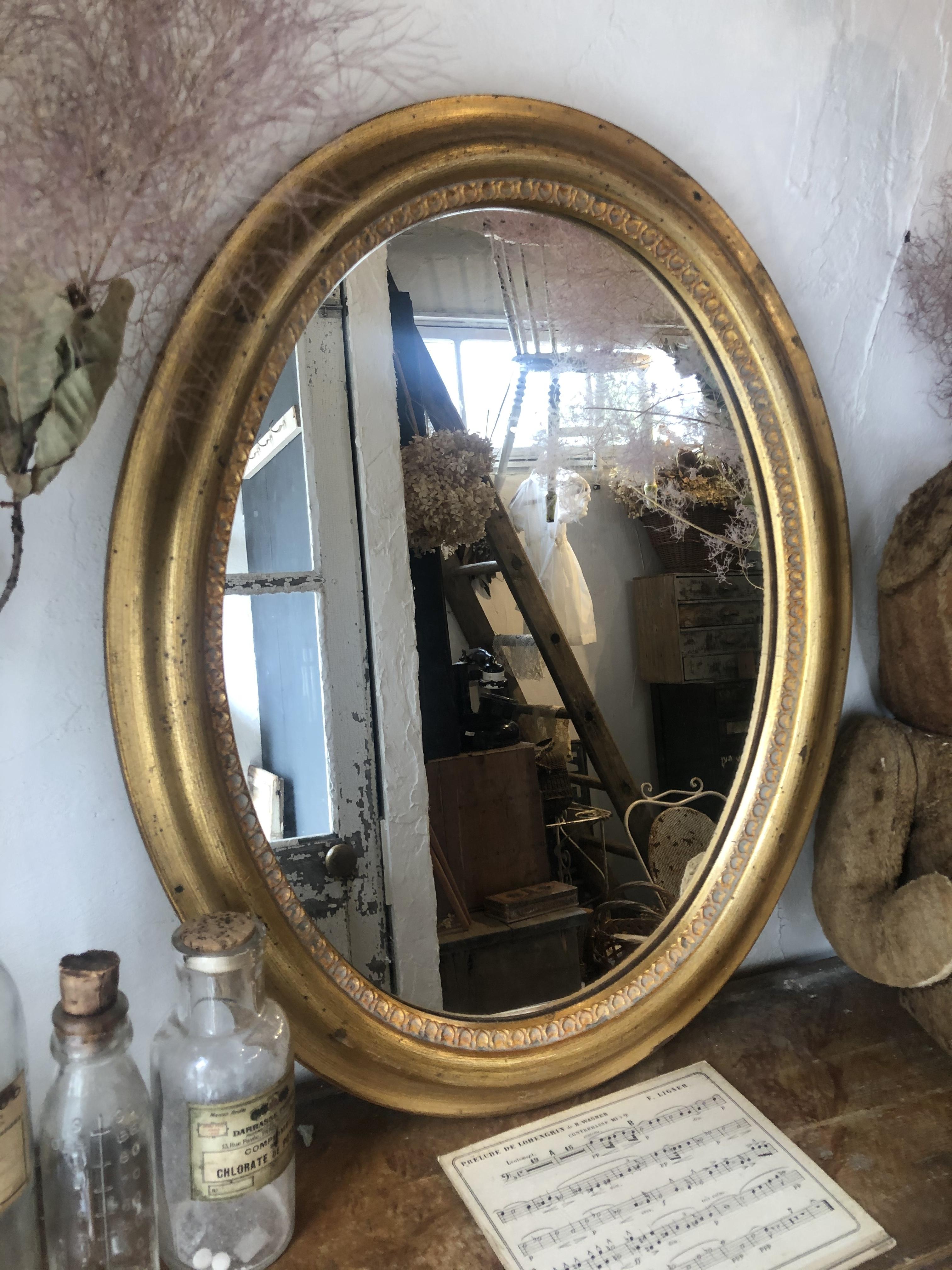 フランスアンティーク 壁がけウォールミラー 金色 オーバル大